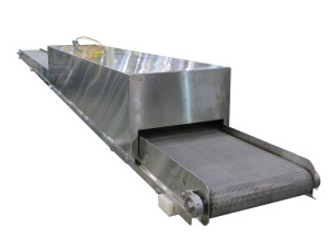 heat tunnel on a stainless steel conveyor with wire belting